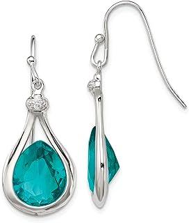 925 Sterling Silver Green Glass Cubic Zirconia Cz Shepherd Hook Drop Dangle Chandelier Earrings Fine Jewelry For Women