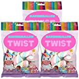Unicorn Marshmallow Twist   Great for Party Supplies for Kids 3.53 oz bag (3 Pack)