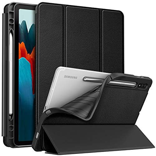 FINTIE Slim Case for Samsung Galaxy Tab S7 11'' 2020 SM-T870(Wi-Fi) SM-T875(LTE) with Built-in S Pen Holder, Soft TPU Smart Stand Back Cover, Auto Wake/Sleep Feature, Black