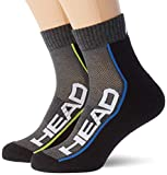 Head Performance Quarter Socks (2 Pack) Calcetines de tenis, Gris Medio/Negro, 35/38 (Pack de 2) Unisex adulto