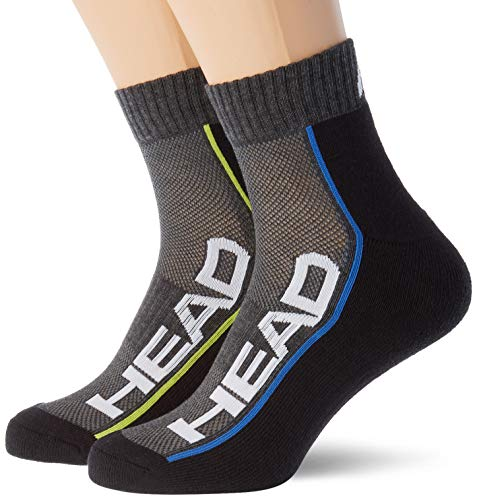 Head Performance Quarter Socks (2 Pack) Calcetines de tenis, Gris Medio/Negro, 35/38 (Pack de 2) Unisex adulto