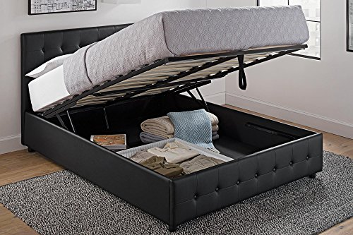 DHP Cambridge Upholstered Faux Leather Platform Bed with Wooden...