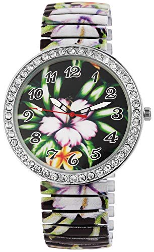 Donna Kelly Damen - Uhr Zugband Strass Blumen Motiv Metall Analog Quarz 1700041