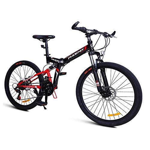 ZHTY 24-Speed Mountain Bikes, Folding High-carbon Steel Frame Mountain Trail Bike, Dual Suspension Kids Adult Mens Mountain Bicycle Mountain Bikes