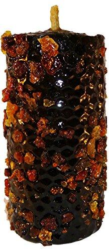 Kaars Mirra negatieve energiereiniging. Zwarte bijenwas met planten, gerecycled.