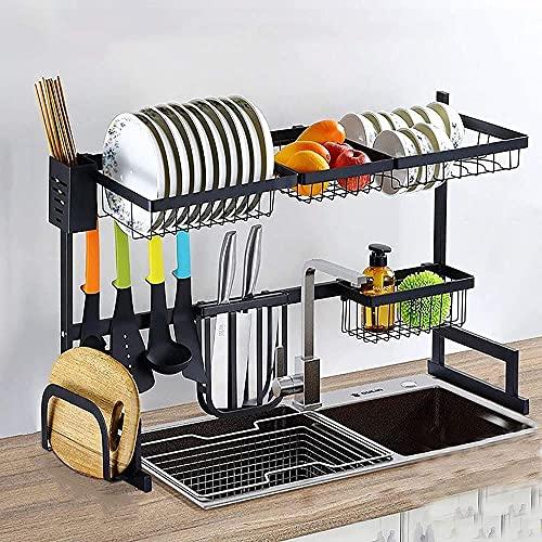 XKun Estante de acero inoxidable para condimentos de múltiples capas, estante de almacenamiento de condimentos, 85 cm (33 pulgadas)