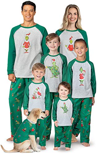 PajamaGram Fun Holiday Grinch Pajamas - Family PJs, Gray, Women's, XS, 2-4