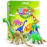 Dino Models, Clay Craft Kit - Dinosaur Arts and Crafts for Kids - Build 4 Dinos with Air Dry Magic Modeling Clay Set - Dinosaur Gifts for Boys & Girls Ages 6-12
