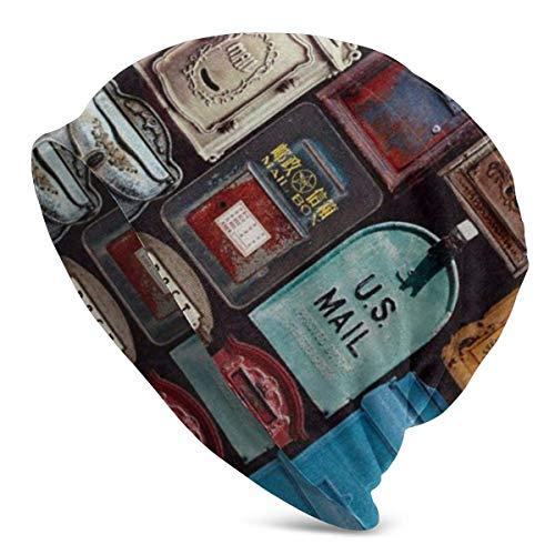 ZhangLinFu Strickmütze Mütze Totenkopfmütze USA Post Mail Mütze für Männer/Frauen Alle Jahreszeiten Dünne Schädelkappe Baggy Oversize Strickmütze