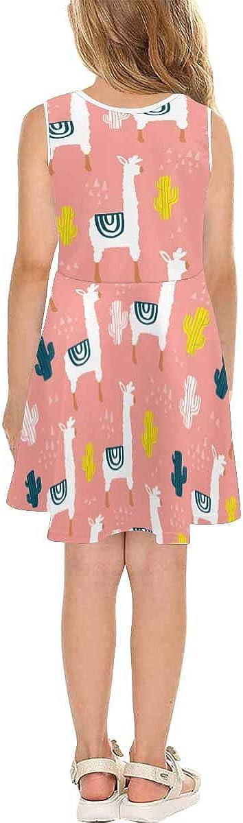 INTERESTPRINT Girls Sleeveless Summer Casual Swing Dresses School Party Beach 4-13 Years Cute Lamma and Cactus 4T