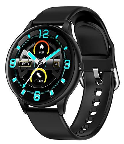 DALIL Orologio Smartwatch Con Funzione di monitoraggio della salute e Sport. Misurazione della temperatura corporea, Pressione sanguigna, frequenza cardiaca e altro. Per Android e iOS. (Black)