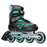 5th Element Stella Recreational Inline Skates, Black and Green, Skate Bag Included - 9.0