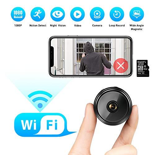 Mini Kamera 1080P HD Kleine WLAN Mini Überwachungskamera mit Nachtsicht-Bewegungserkennung und und Magnet Mikro Nanny Cam für Innen- und Außenbereich mit Einer 32G SD-Karte