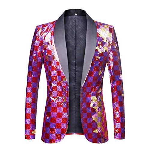 XFXZXZ Blazer DJ Singer pak jas outfit heren bont geruit paars rood goud roze pailletten blazer