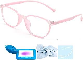 Blue Light Glasses for Kids Fashion Glasses Computer for Anti Eyestrain Anti Glare Lens Frame Eyeglasses with Strap Teen Girls Eyewear Boys Children Age 3-12 (132mm, Oval pink)