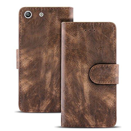 United Case Funda Vintage con Compartimento para Tarjetas para Sony Xperia M5 El | Cartera