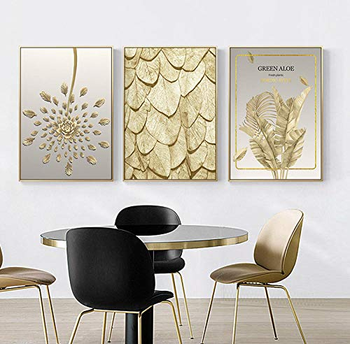 Golden Leaves Pattern Modern Wall Art Canvas Painting Nordic Posters And Prints Immagini murali per Living Decor-40x60cmx3 Pezzi Senza Cornice