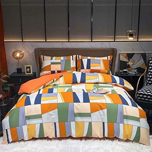 Wellboo Orange Geometric Comforter Sets Queen Orange and Blush Green Splicing Plaid Bedding Women Girls Adult Blocks Cubism Dorm Quilts Oil Painting Bed Gothic Glass Plaid Soft Durable
