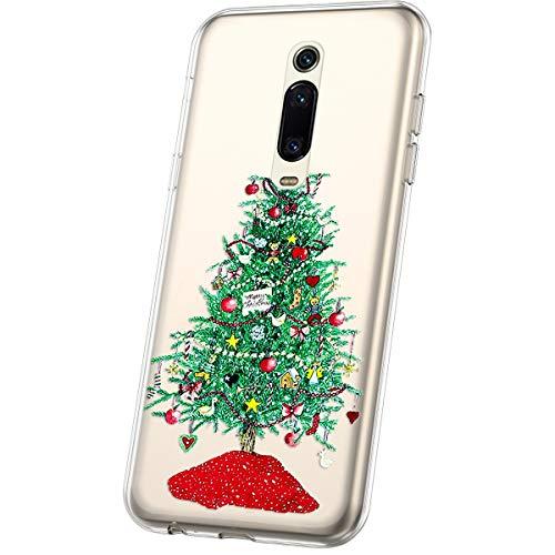 JAWSEU Compatible avec Xiaomi Mi 9T Pro Coque Transparent Silicone,Ultra Mince Souple Cristal Clair Housse Coque Belle Neige de Noël Christmas Snowflake Motif Coque de Protection,#6