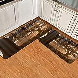 Juegos de alfombrillas de cocina de 2 piezas,Diseño minimalista con una pequeña distorsión cúbica y gi,Alfombras de franela antideslizantes lavables impermeables,Alfombra suave Alfombra antifatiga