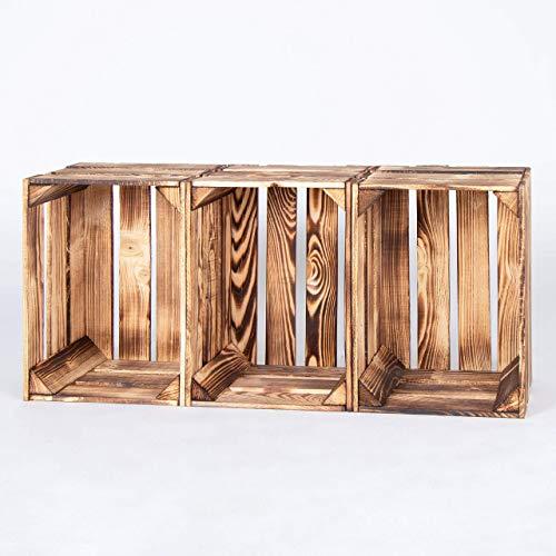 LAUBLUST 3er Set Große Vintage Holzkisten – 40x30x25cm, Geflammt, Neu, Unbenutzt | Möbel-Kiste | Wein-Kiste | Obst-Kiste | Apfel-Kiste | Deko-Kiste aus Holz - 6