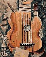 大人のための数字によるDIYペイントキッズギター子供と大人のための40x50cmキャンバス油絵キット、ペイントブラシでペイントワークを描く、アクリル顔料