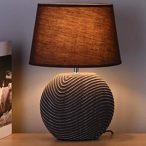 BAKAJI Abatjour - Lámpara de mesa con base redonda de cerámica, color marrón, pantalla de tela de café, lámpara de noche, dormitorio, luz E27, máx. 40 W, diseño moderno, tamaño 25,5 x 37,5 cm