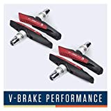 Alphatrail V-Brake Patins de Frein I 2 Paires 72mm I Un comportement de freinage optimisé sur Le mouillé I Patin de Frein Durable & 100% adapté pour V-Brakes de Shimano, Tektro, Avid, SRAM, XLC etc.