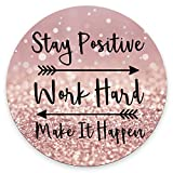 Amcove Round Gaming Mouse Pad Custom, Stay Positive Work Hard and Make It Happen Inspirational Quotes Round Mouse pad Art Rose Gold and Silver Glitter Black Quote 7.9 x 7.9 x 0.12 Inch