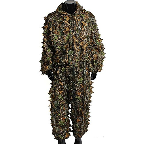 Traje de camuflaje en 3D con hojas, para caza, tiro con arco y pesca, incluye pantalón y chaqueta