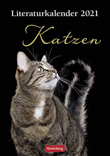 Katzen Literaturkalender - Kalender 2021 - Harenberg-Verlag - Wochenkalendarium - 54 Blatt mit Gedichten und Zitaten - Wandkalender - 24,8 cm x 36 cm - Küchenkalender - Kulturkalender