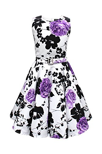 BlackButterfly Kinder 'Audrey' Vintage Serenity Kleid im 50er-J-Stil (Weiß & Lila, 13-14 J / 158-164)