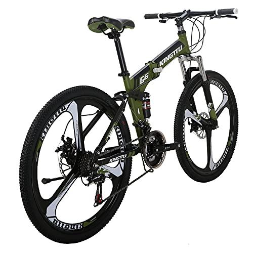 Dual Suspension Folding Mountain Bike 26 Inches K Wheels Folding Bike 21 Speed MTB (ArmyGreen/G6 K Wheel)