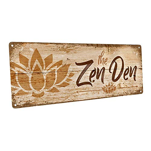 """Homebody Accents The Zen Den Lotus 6""""x16"""" Metal Sign, Wall Décor for Inspirational"""