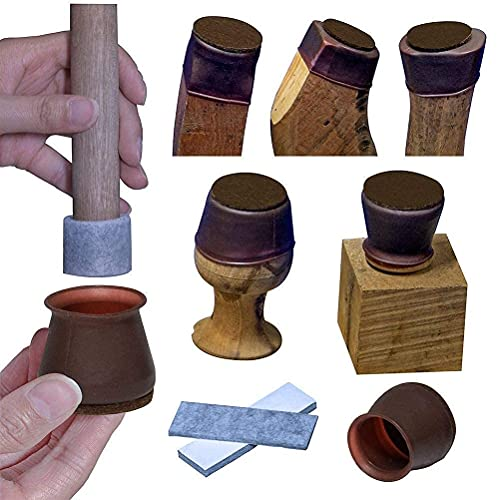 Furniture Leg Covers, Felt Bottom Soft Silicone Small Chair Leg Protector, 16 Pcs Table Leg Cover and 32 Pcs Felt Strips, Small Metal Leg Protector Cap for Stool, Protect the Floor, Dark Walnut Color.