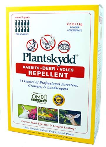 Plantskydd Animal Repellent - Repels Deer, Rabbits, Elk, Moose, Hares, Voles, Squirrels, Chipmunks and Other Herbivores; Organic Powder Concentrate - 2.2 LB Box - Makes 2.5 Gallon Liquid (PSP-R2)
