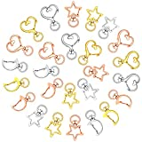 72 Pieces Claw Swivel Lobster Clasp Alloy Star HeartMoon Shape Keychain, Metal Swivel Clip Snap Hook, DIY Accessories for Bag Keychains, Jewelry Making