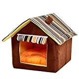 HAPPYX Pet House with Triangle Roof, Warm Soft Cosy Non-slip Cave Bed for Dog Cat Rabbit, 2 Removable Cushions