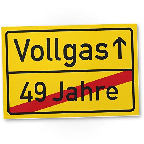 DankeDir! Vollgas (49 Jahre) Kunststoff Schild - Geschenk 50. Geburtstag, Geschenkidee Geburtstagsgeschenk Fünzigsten, Geburtstagsdeko/Partydeko/Party Zubehör/Geburtstagskarte