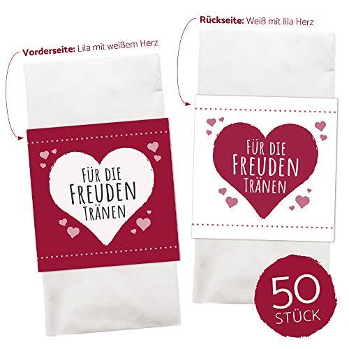 WEDDNG Freudentränen Banderole Rot (50 Stück), Banderolen für Freudentränen Taschentücher mit Klebepunkt zu verschließen, Gastgeschenke Hochzeit