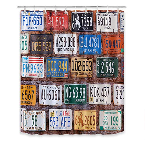 LB Old American Car Automobile License Plates Shower Curtain Set,Rural Utah Brick Building Wall Bathroom Curtain Decor Waterproof Polyester Fabric Bath Curtain with Hooks,60x72 inch