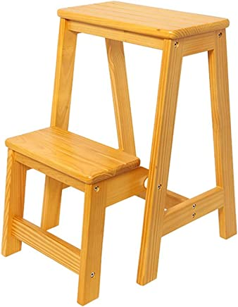 ZHJBD Furniture Stool Wood Folding Step Ladders Step Standing Shelf Units Lightweight Multi Purpose Stepladder Tread for Home Library Loft 300 Capacity  Size