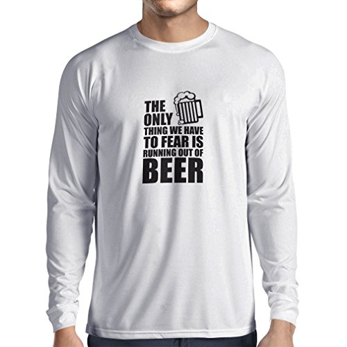 Camiseta de Manga Larga para Hombre Tener Miedo de no Tener una Cerveza - para la Fiesta, Bebiendo Camisetas (Large Blanco Negro)