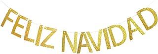 Feliz Navidad Banner, Christmas Party Decorations,Gold Gliter Spanish Holiday Party Sign