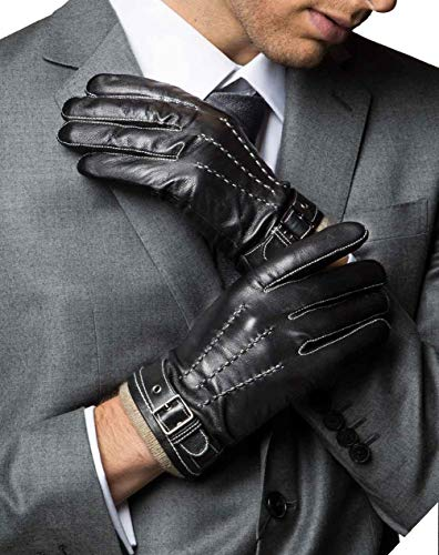 YISEVEN Herren Lederhandschuhe Gefüttert Touchscreen Warm Echtleder Handschuhe Lederhandschuhe Lammfell Autofahrerhandschuhe Herrenhandschuhe Männer Autohandschuhe Geschenk, Schwarz XL/10.0