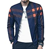 LOGEEYAR Men's Bomber Jacket Casual Slim Fit Printed Fall Winter Outerwear Coat Cool Blue