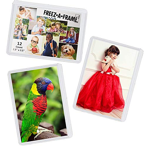 """12 Pack Magnetic Wallet Picture Frames Holds 2 1/2"""" X 3 1/2"""" Pocket Photo for Refrigerator by Freez-A-Frame Made in the USA"""