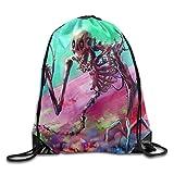 Etryrt Prämie Turnbeutel/Sportbeutel, Colorful Skull Drawstring Backpack Rucksack Shoulder Bags Training Gym Sack for Man and Women