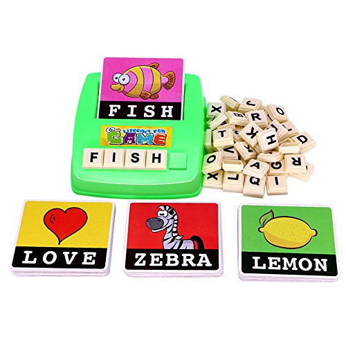 Matching Letter Game for Kids,Learning Spelling Sight Words Alphabet Flash Cards,Preschool Activities Educational Toys,Increases Memory Interactive Parent-Kids Desk Game (Multicolor, US Spot)