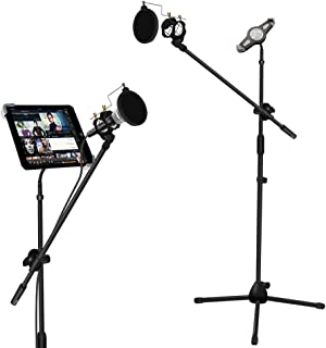 Microphone and Tablet Tripod Boom Stand Kit, Kasonic 2-in-1 Adjustable Studio Mic Stand with Tablet Holder Suitable for 7 to 12 Inch iPad and Tablet